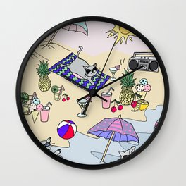 summer cats Wall Clock