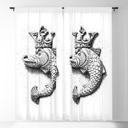 Fish Grotesque with Crown | Black and White | Blackout Curtain