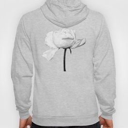 White Peony Black Background Hoody