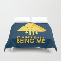 sayings Duvet Covers featuring It ain't easy being cheesy by Picomodi