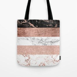Modern chic color block rose gold marble stripes pattern Tote Bag