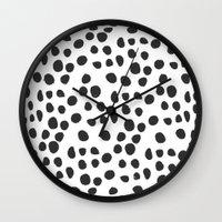 polka dot Wall Clocks featuring Polka dot by Lolita Stein