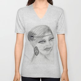 Veiled Deco Girl Unisex V-Neck