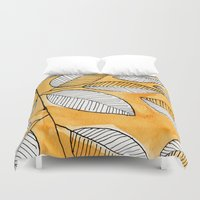 striped Duvet Covers featuring Striped leaves by Marta Li