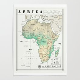 Africa and Madagascar Map Print Poster