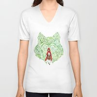 red riding hood V-neck T-shirts featuring Red Riding Hood by Stephane Lauzon
