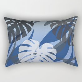 Three big Monstera Leaves blue color - #jungle #floral  Rectangular Pillow