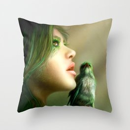 Green Whisper Throw Pillow