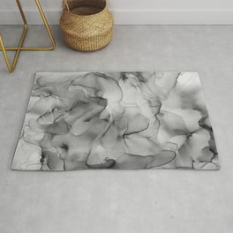 Black and White Marble Ink Abstract Painting Rug