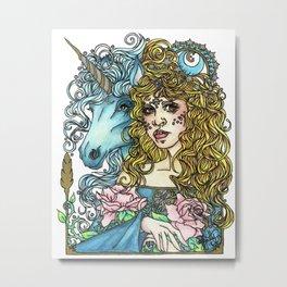 Unicorn Guide Metal Print