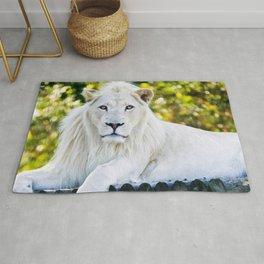 Wonderful Beautiful Big Male White Lion Lying Down Close Up Ultra HD Rug