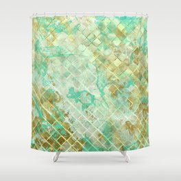 Turquoise & Gold marble mosaic Shower Curtain
