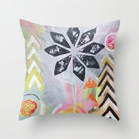 "flora bowley Throw Pillows featuring ""Intermix"" Original Painting by Flora Bowley by Flora Bowley"