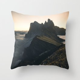 amazing Sunrise at Seceda in the Dolomites Throw Pillow