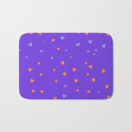 St. Valentine's Day Pattern. Lilac pattern, Violet and Orange hearts Bath Mat