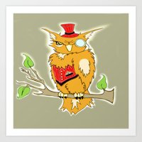 steam punk Art Prints featuring Steam Punk Owl by J&C Creations