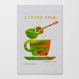 Colorful Art Coffee Time Canvas Print