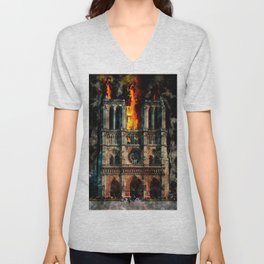 Notre Dame Cathedral on fire Unisex V-Neck
