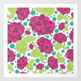 Happiness is hydrangeas Art Print