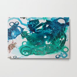 Turtle Exploring the Great Deep Blue Sea Metal Print