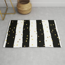Black and white grunge striped background with Gold confetti Rug