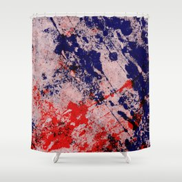 Hot And Cold - Textured Abstract In Blue, Red And Black Shower Curtain