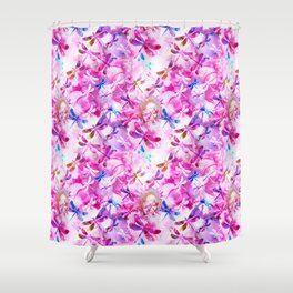 Dragonfly Lullaby in Pink and Blue Shower Curtain