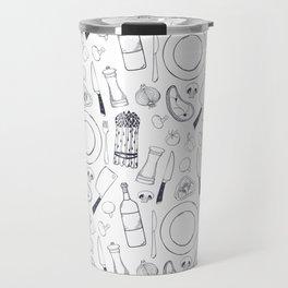 Black hand drawn ratatouille sketched pattern Travel Mug