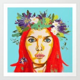 Red haired girl with flowers in her hair Art Print