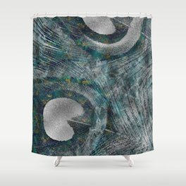 Abstract Peacock quill Digital Art Shower Curtain