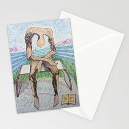 fan art: melancholy sculpture with a dropped open book and sea view Stationery Cards