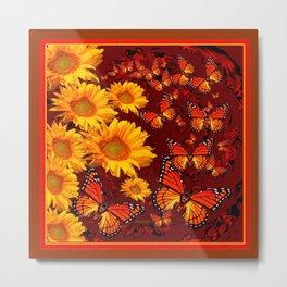 Golden Yellow Sun flowers & Orange Monarchs Brown Art Metal Print