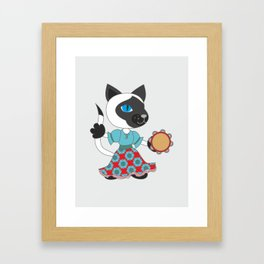 Siamese cat animal character. Hippie girl dancing with tambourine. Framed Art Print
