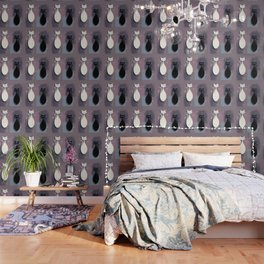 Jazzy Midcentury Modern Black And White Abstract Cats Wallpaper