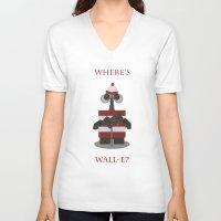 wall e V-neck T-shirts featuring Where's Wall-e? by Robert Scheribel