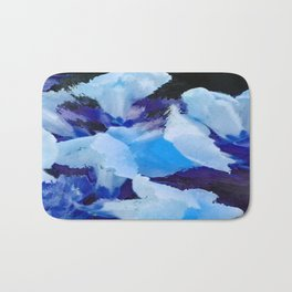 Blue Snapdragons Flower Abstract Bath Mat