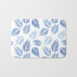 Tropical areca palms pattern in blue Bath Mat