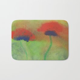 Gouache painting of red poppies on a green meadow Bath Mat