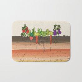Earth soil layers vegetables garden cute educational illustration kitchen decor print Bath Mat