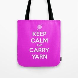 Keep Calm and Carry Yarn - Fuschia Solid - Crochet Tote Bag