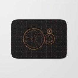 Set of red gears and cogs on virtual screen Bath Mat