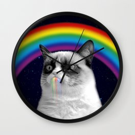 cat all over galaxy rainbow puke Space Crazy Cats Wall Clock
