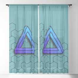 Abstract Geometric Pattern - Impossible Triangle - Background Sheer Curtain
