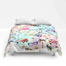 Beach time- Tropical summer watercolor pattern Comforters