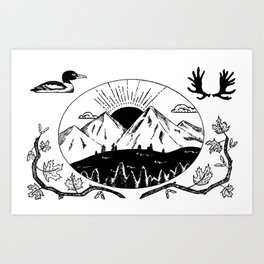 Canadian Mountain Range Art Print
