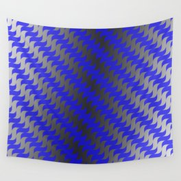 3d Blue Wavy Lines Wall Tapestry