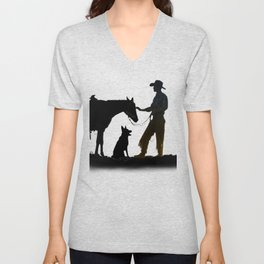 The Cowboy and his Companions Unisex V-Neck