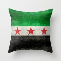 """islam Throw Pillows featuring The Syrian """"independence flag""""  retro style version by Bruce Stanfield"""