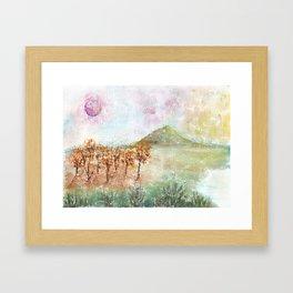Watercolor Pink Moon Landscape Framed Art Print