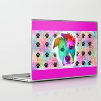 pit bull Laptop & iPad Skins featuring Love is a pit bull by Shay by design